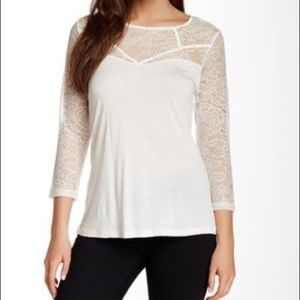 Jack by BB Dakota Mariel White Lace 3/4 Sleeve Top